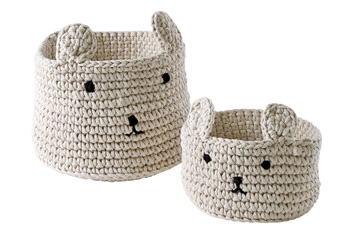 Set of 2 Bear Knitted Storage Cubes