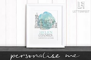 Personalised Wedding Venue Framed Illustration by Letterfest