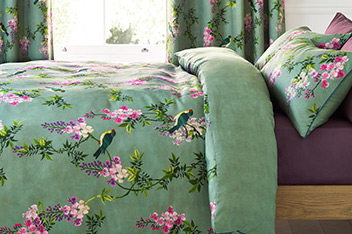 Cotton Sateen Embroidered Effect Bed Set