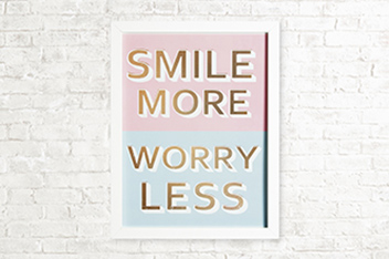 Smile More Foil Effect Small Frame