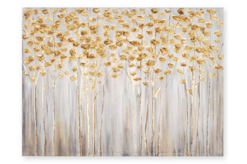 Gold Birch Trees Large Canvas