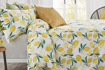 Lemon Print Bed Set