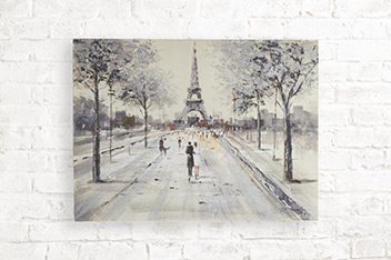 Paris Couple Scene Glitter Large Canvas
