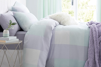 Brushed Cotton Frost Check Bed Set