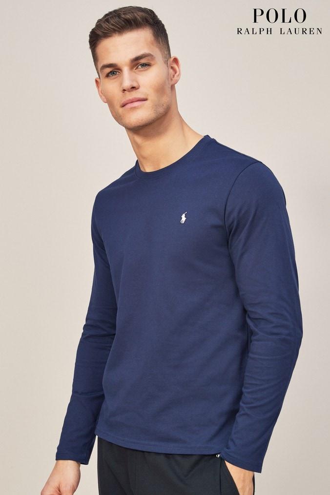 Mens Polo Ralph Lauren Navy Long Sleeve Crew T Shirt Blue 4500