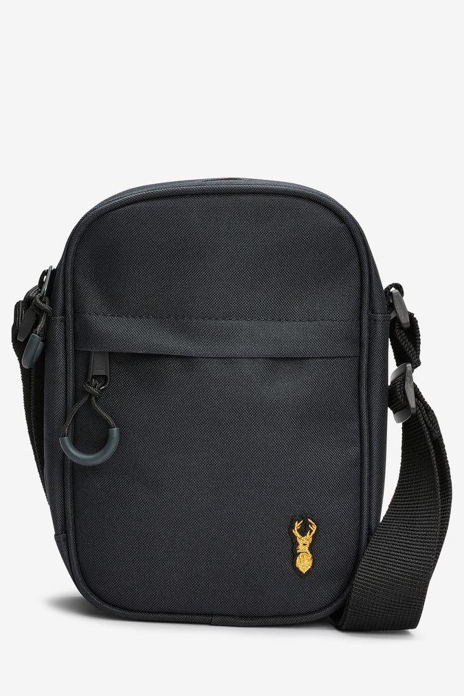 Mens Next Black Stag Badge Cross Body Bag - Black  d0e4e17fdb8ba