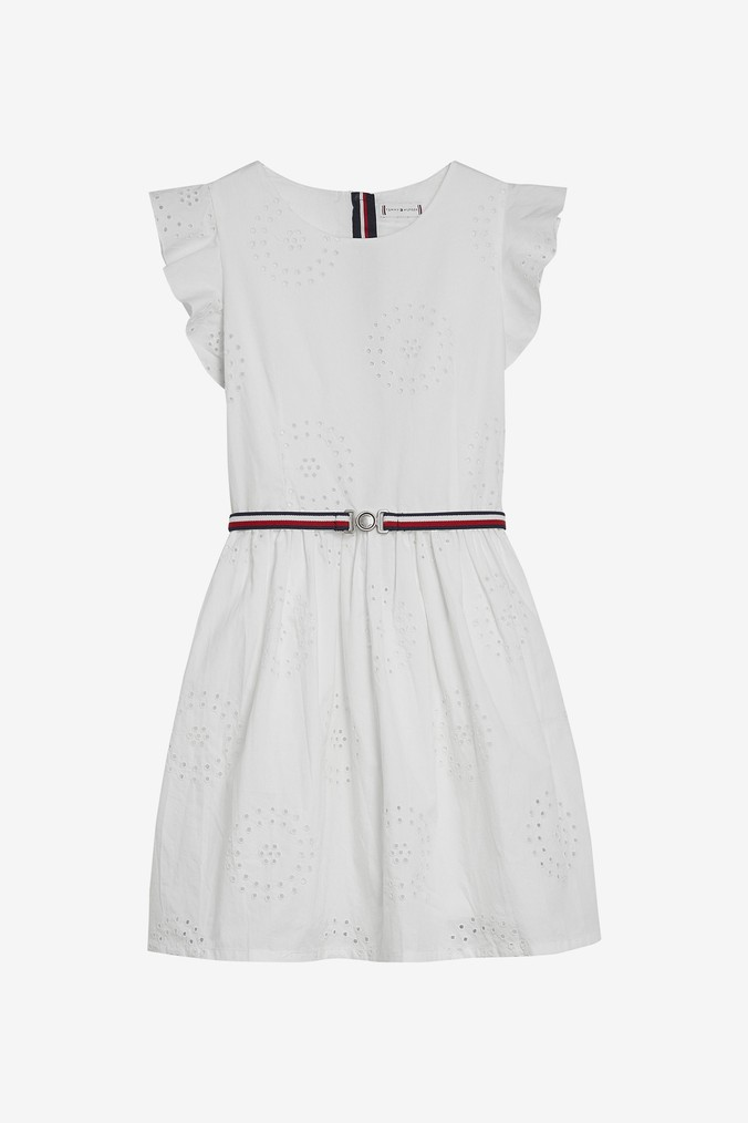 Girls Tommy Hilfiger Girls Broderie Anglaise Dress -  White