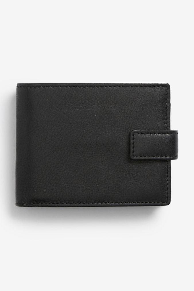 Mens Next Black Signature Italian Leather Extra Capacity Popper Wallet -  Black 0f0f4c9359e9