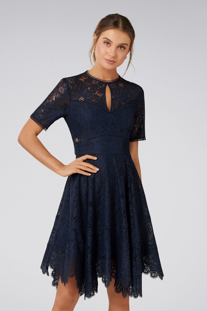 womens forever new petite lace dress -  blue