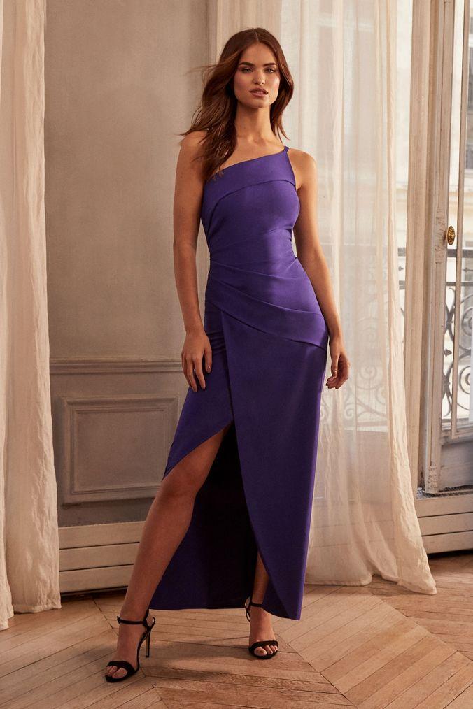 lipsy petite one shoulder pleated maxi dress - 8 - blue