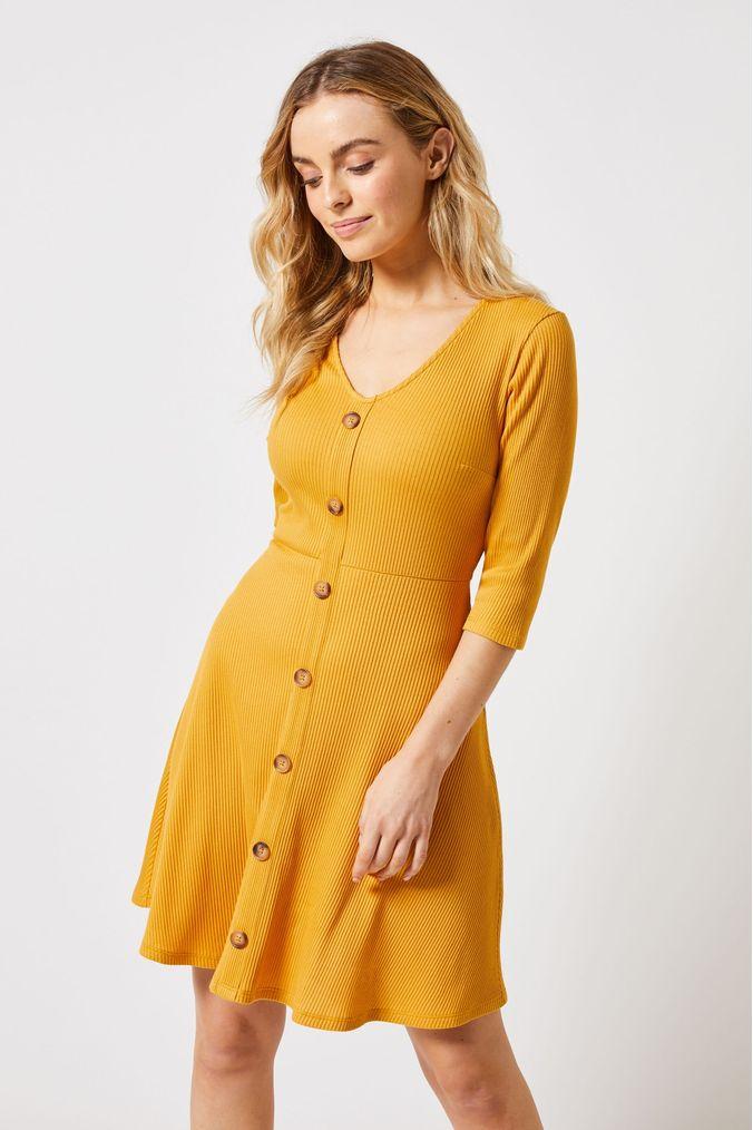 womens dorothy perkins petite rib button fit & flare dress -  yellow