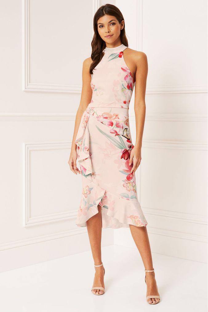 lipsy petite delilah printed halter frill bodycon dress - 14 - white