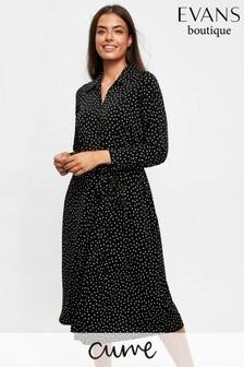 Evans Curve Black Polka Dot Shirt Dress