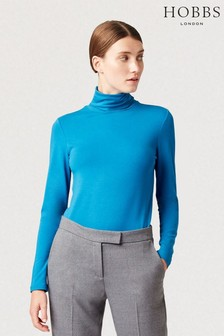 Hobbs Blue Mischa Roll Neck Top