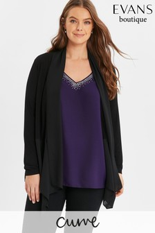 Evans Curve Black Chiffon Mix Waterfall Jacket