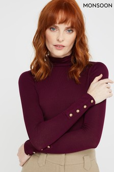 Monsoon Red Pammy Polo Neck Jersey Top