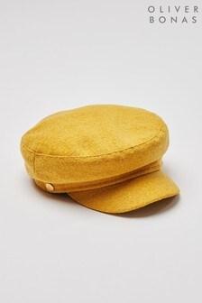 Oliver Bonas Felt Yellow Metallic Baker Boy Hat