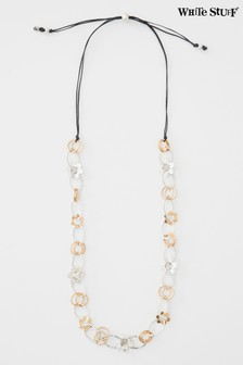 White Stuff Metallic Flower Link Cord Necklace
