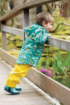Frugi Recycled Waterproof Dungarees In Yellow