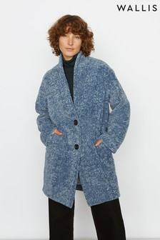 Jigsaw Blue Cosy Cocoon Coat