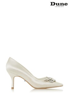 Dune London Bels Ivory Satin V Cut Embellished Court