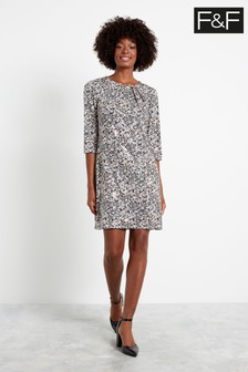 F&F Multi Black/White Shimmer Shannon Non Print Dress