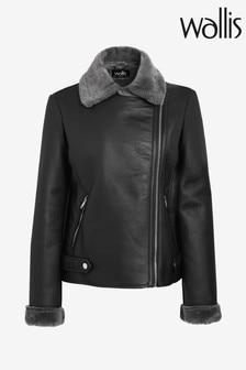 Wallis Black Faux Fur Lined Biker Jacket