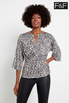 F&F Multi Black/White Shimmer Shannon Non Print Top