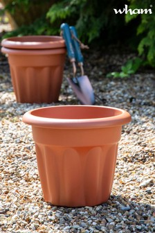 Set of 3 Vista 25cm Round Garden Planters by Wham