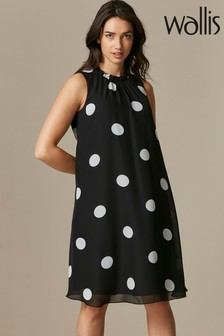 Wallis Black Spot Ruffle Neck Swing Dress