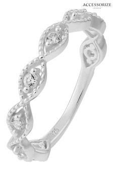 Accessorize Sterling Silver Sparkle Weave Ring