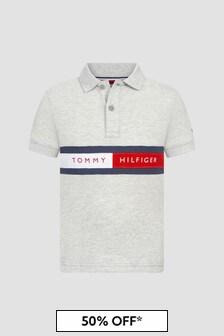 Tommy Hilfiger Boys Grey Cotton Polo Top
