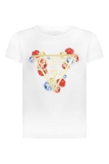 Girls White Jersey Logo T-Shirt