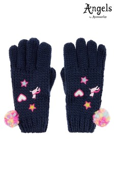 Angels by Accessorize Blue Appliqué Badge Gloves