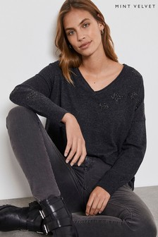 Mint Velvet Grey Embellished V-Neck Jumper
