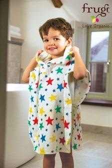 Frugi Organic Hooded Towel In White Star Print