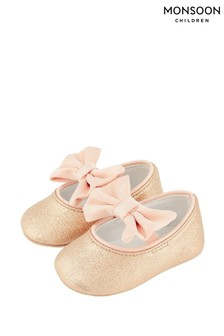 Monsoon Baby Samira Gold Bow Bootie Shoes
