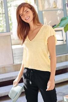 Linen Blend Ruffle T-Shirt