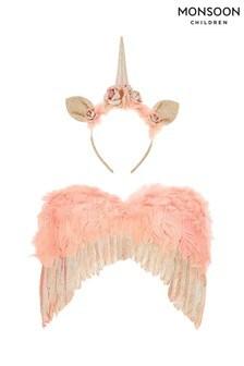 Monsoon Children Pink Amora Unicorn Wings Dress Up Set