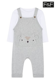 F&F Unisex Knitted Bear Dungarees