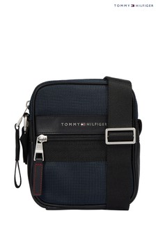 Tommy Hilfiger Blue Elevated Nylon Mini Reporter Bag