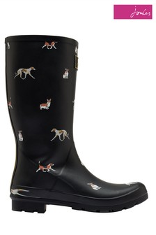 Joules Black Roll Up Welly