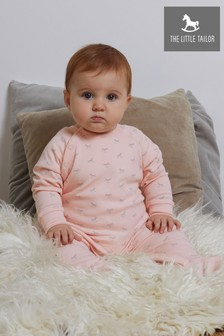 The Little Tailor Pink Jersey Print Rocking Horse Sleepsuit