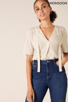Monsoon Cream Short Sleeve Tie Front Top