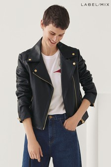 Mix/Lab Luxury Leather Biker Jacket