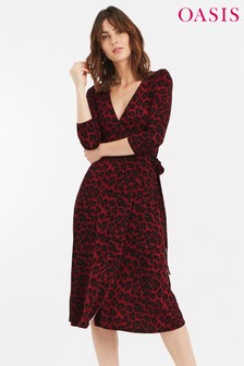 Oasis Red Animal Clean Wrap Dress