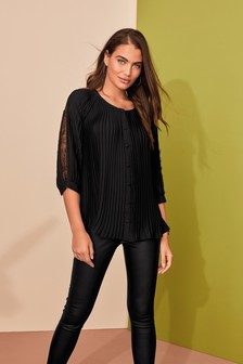 Lace Insert Pleat Button Through Top