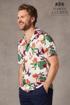 Hawes & Curtis Green Tropical Print Linen Relaxed Fit Shirt