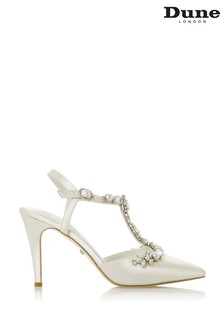 Dune London Corsage Ivory Satin T-Bar Embellished Court