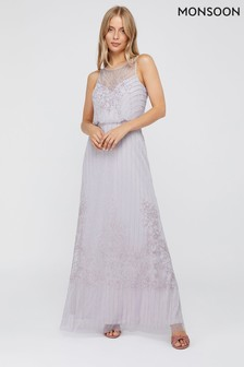 Monsoon Purple Bella Embellished Maxi Dress
